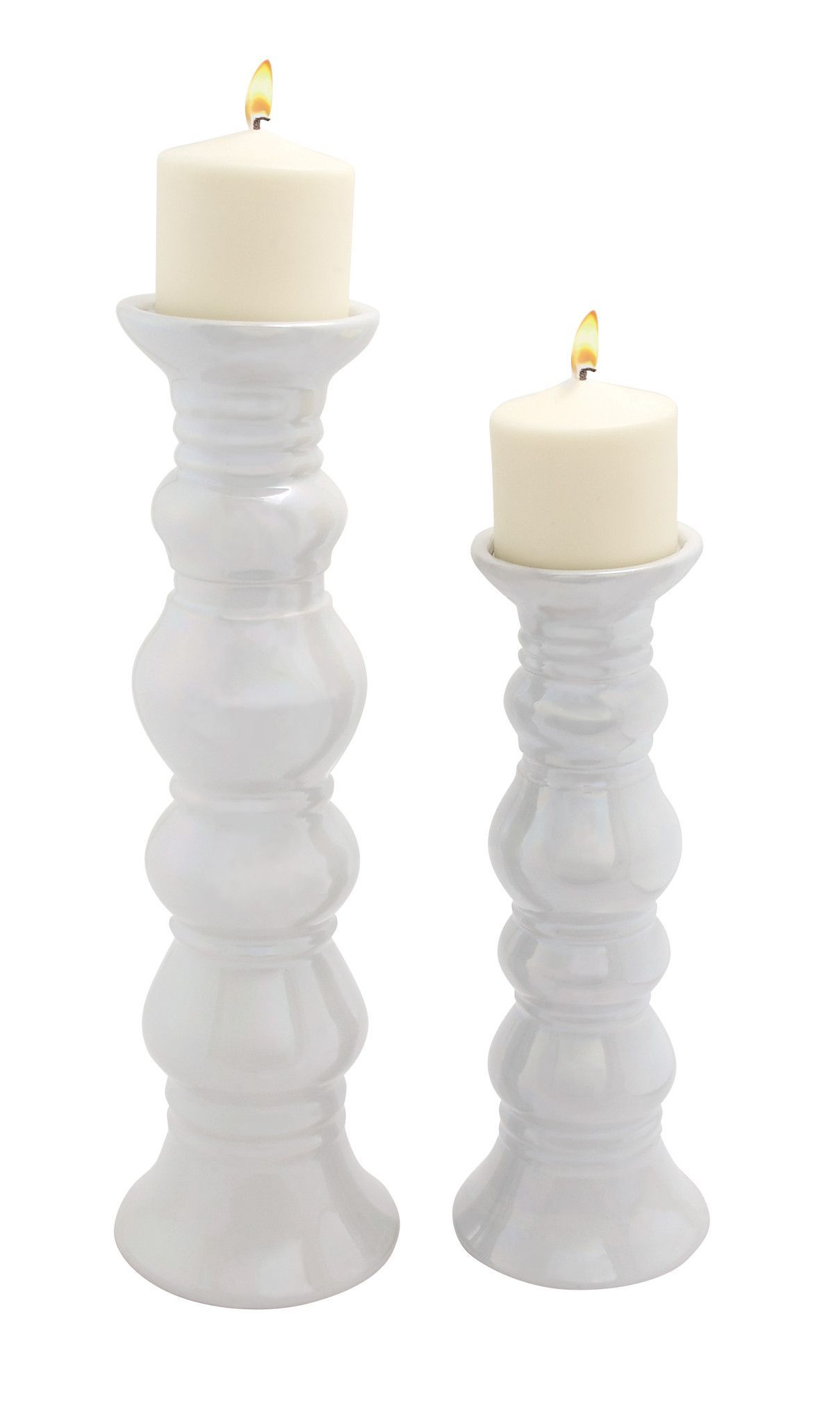 Classy Unique Styled Ceramic Candle Holder Set Of 2