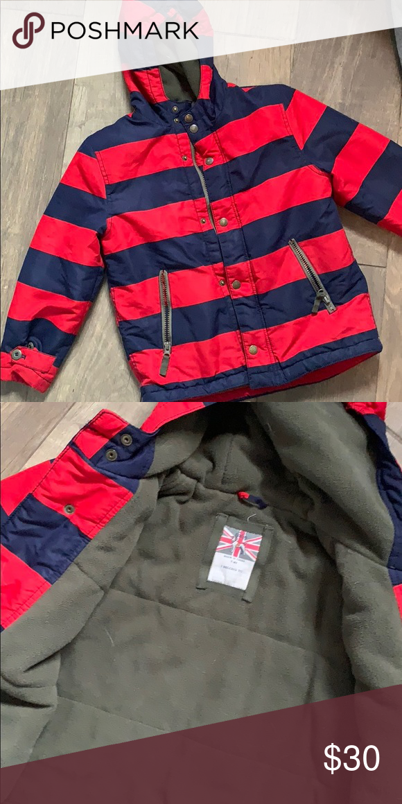 5cf89fe9b Mini Boden Boys Red Blue Stripe Parka Coat Size 7/8 boys winter Boden Jacket /Coat. Great used condition Mini Boden Jackets & Coats Puffers