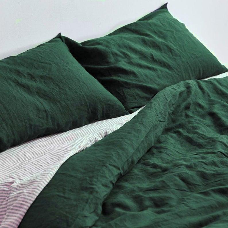 Forest Green Linen Duvet Cover 1 Duvet Cover Softened Etsy Green Comforter Green Comforter Bedroom Green Bedding