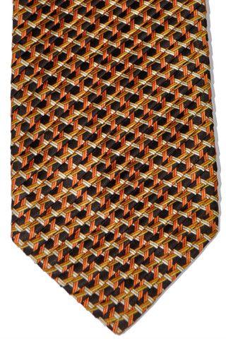 Vitaliano Pancaldi PLEATED SILK Tie Black Gold Geometric