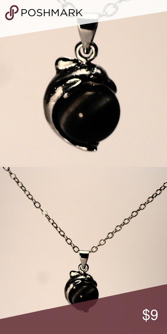 Natural Black Cats Eye Gemstone Dolphin Necklace Beautiful Natural Black Cats Eye Gemstone Necklace Features A Cats Dolphin Necklace Black Cat Eyes Gemstones