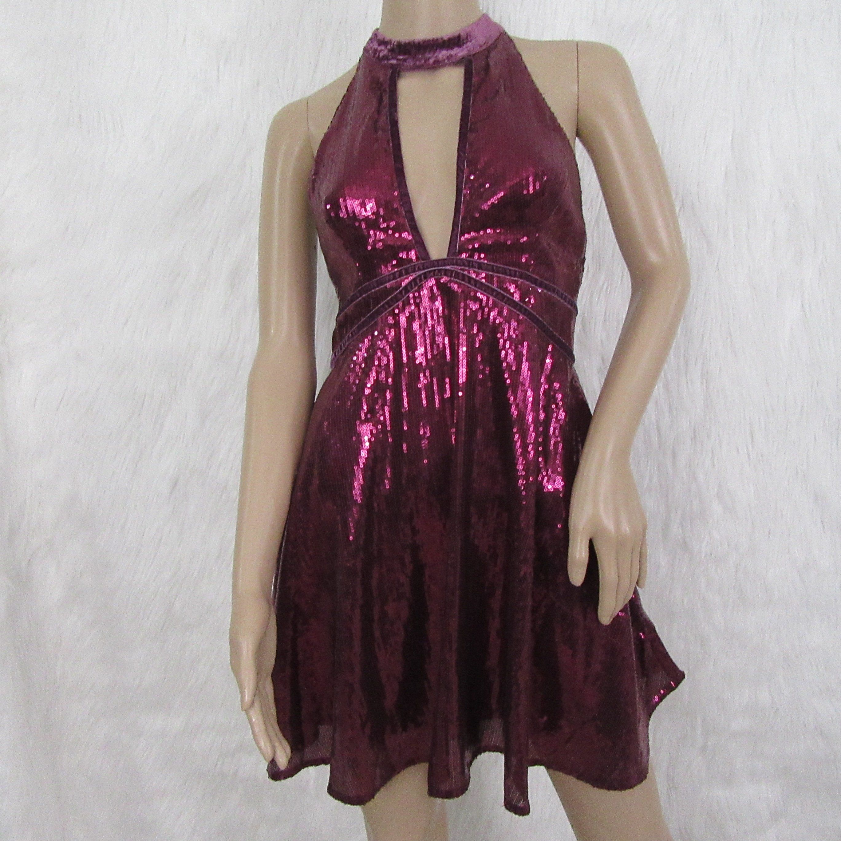 e5144d4a4da Free People Women s Plum Sequin and Velvet Fit and Flare Dress ...