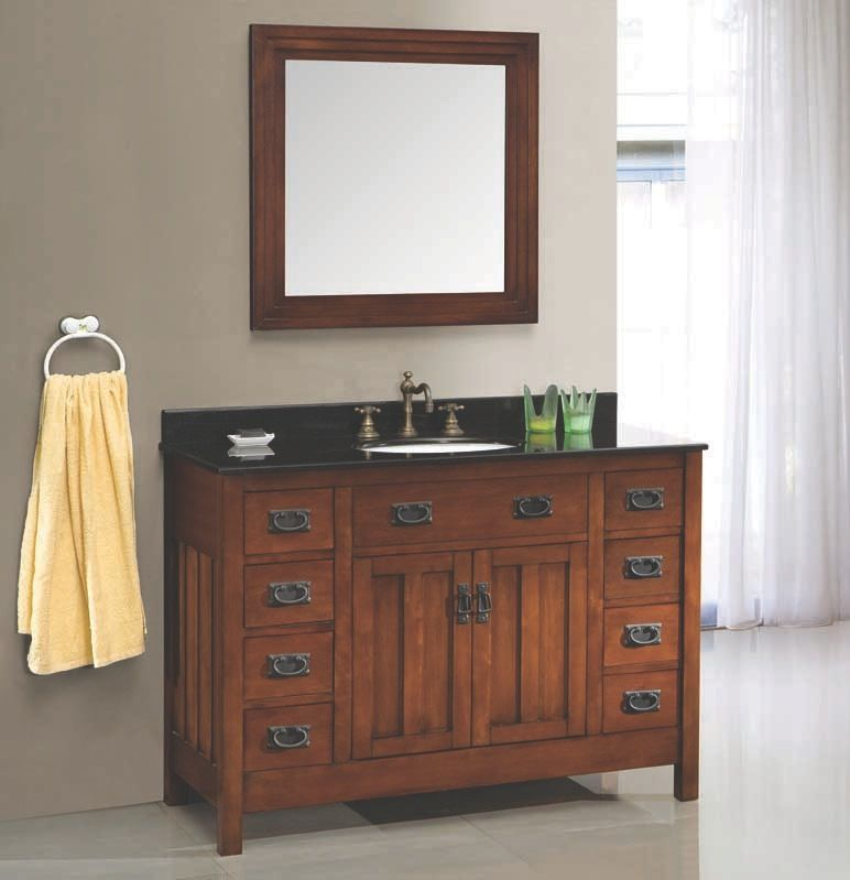 The Cain 46 Vanity Features Hardwood Furniture With A Dark Walnut Finish Black Granite Cabinets To Gobathroom