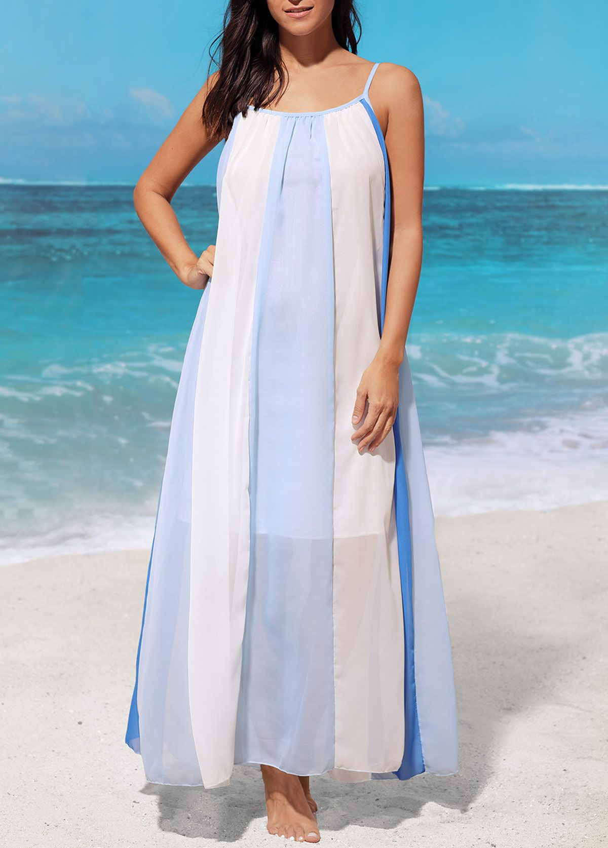 Sleeveless Blue Vertical Stripe Maxi Dress on sale only US$29.69 now ...