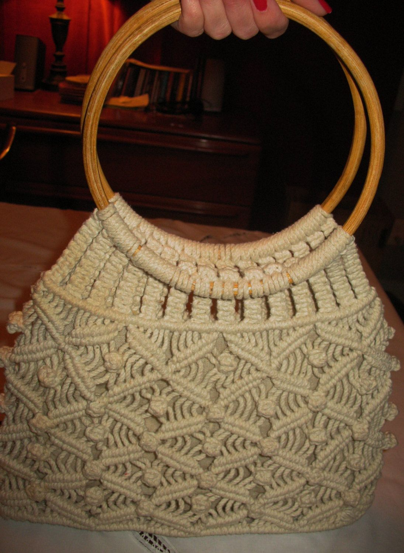 Cream colored macrame or crochet bag by GoLightlysCloset on Etsy, $15.00