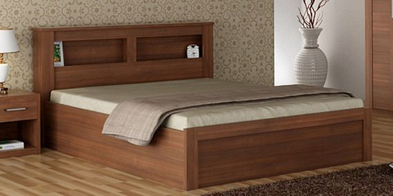 Kosmo Arena Queen Size Bed With Box Storage In Rigato Walnut