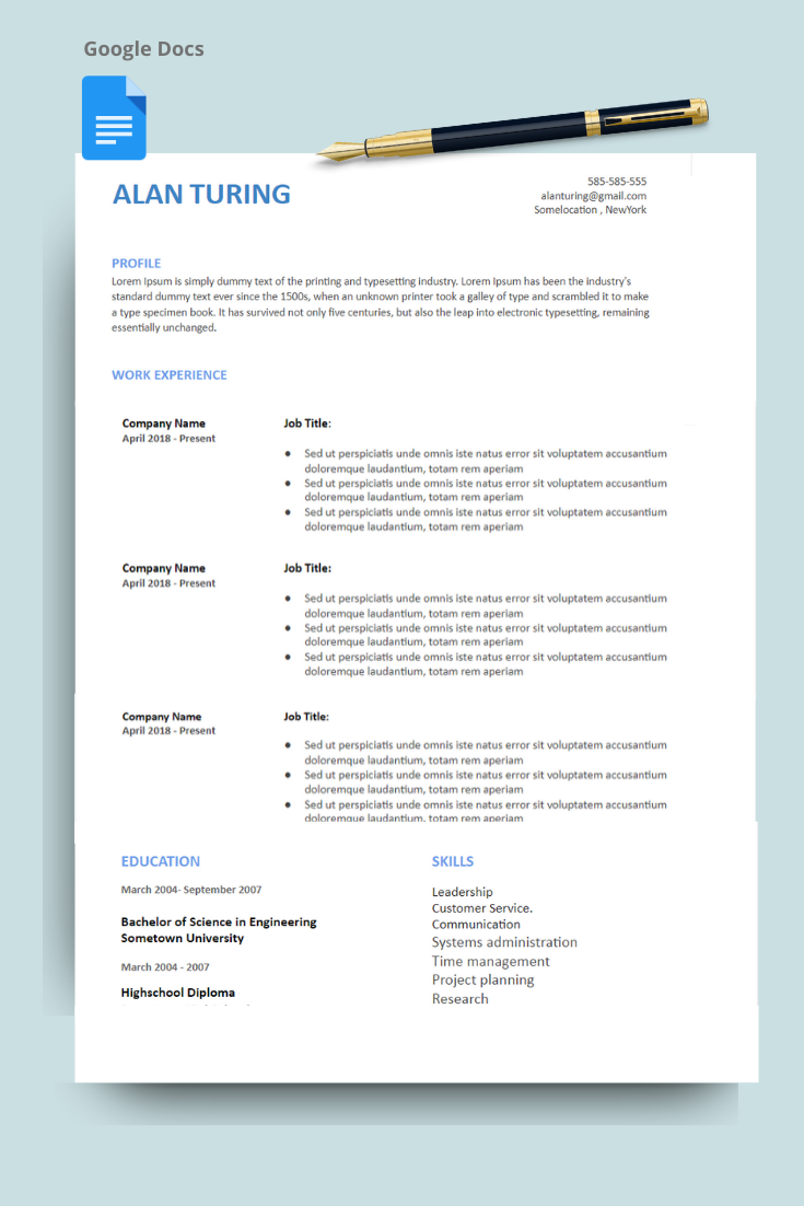 One Page Google Docs Resume Template Resume Template Resume Work Experience