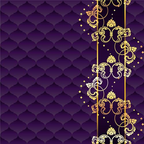 Purple Wallpaper Hd: Golden Floral With Purple Textures Background Vector
