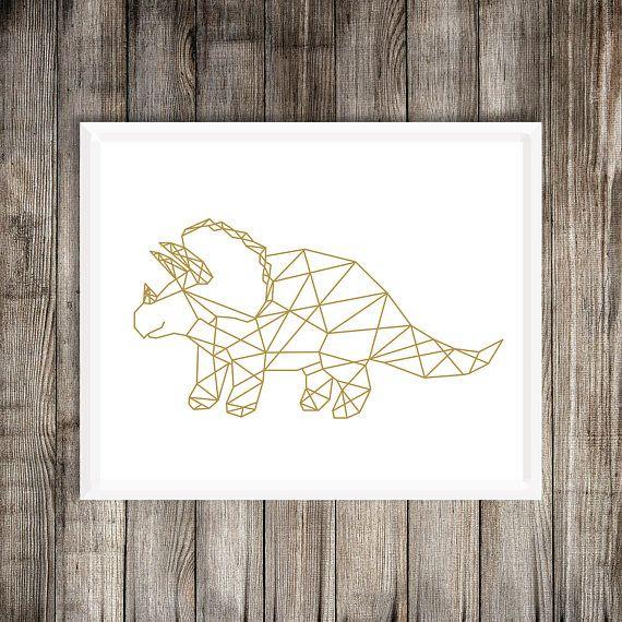 Geometric Triceratops Dinosaur Art Print
