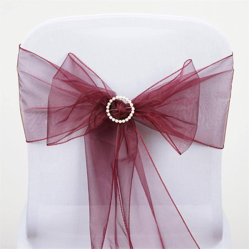 sheer organza chair sashes 5pcs burgundy pinterest chair