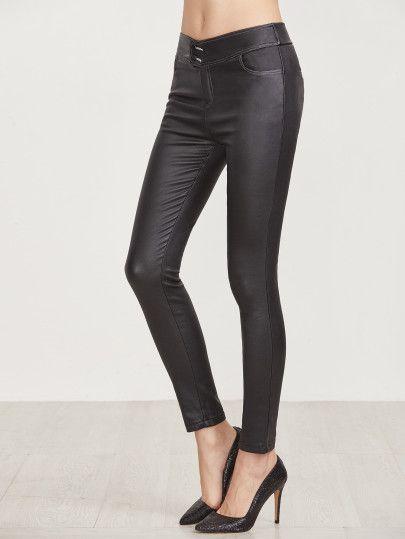 a91f4f67f7 Black Faux Leather Skinny Pants Sheinside, Black Faux Leather, Skinny Pants,  Leather Pants