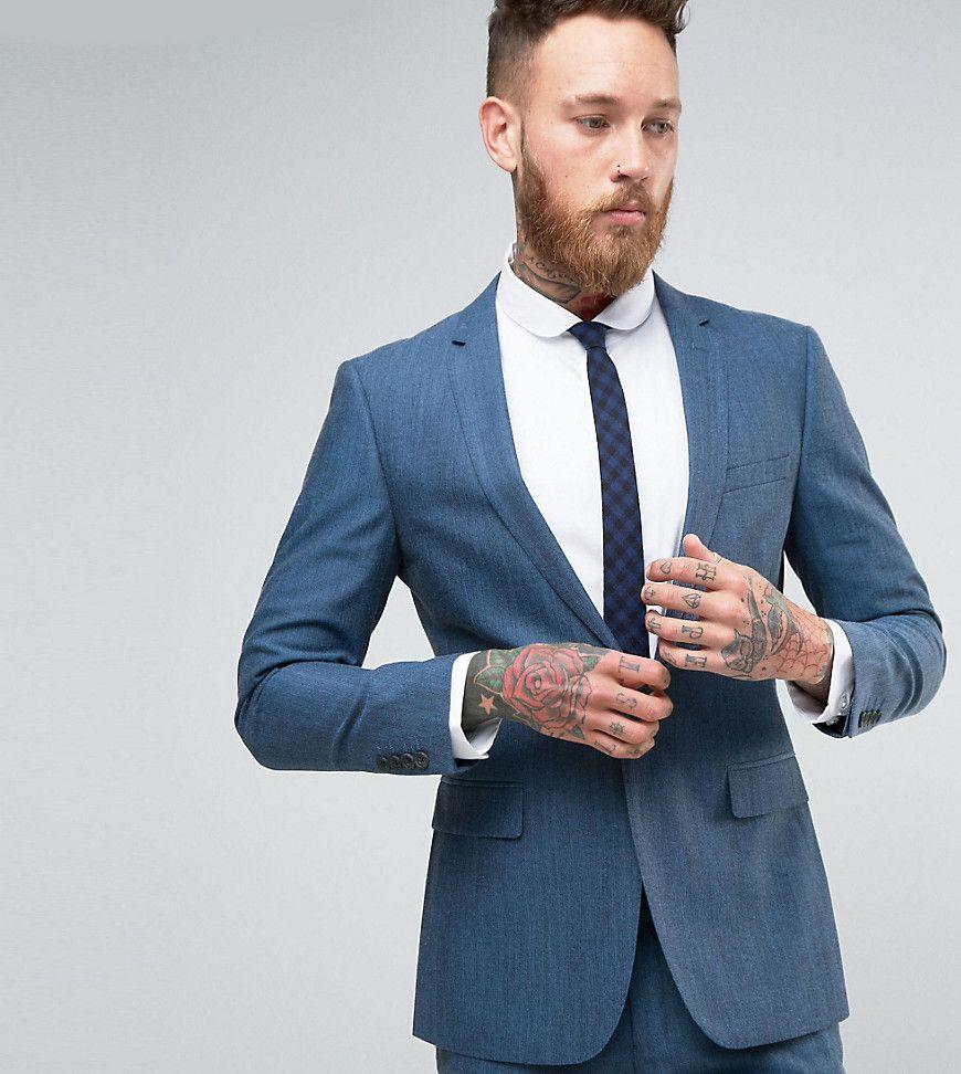 Number Eight Savile Row Skinny Suit Jacket in Micro Herringbone ...