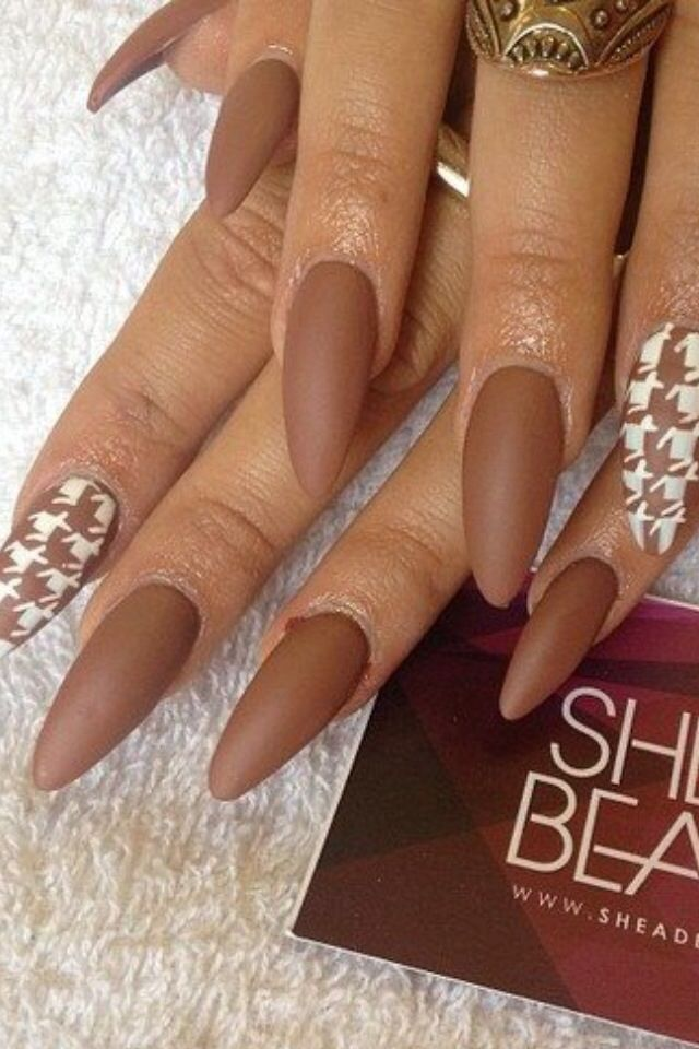 Light Brown Nails : light, brown, nails, Matte, Light, Brown, Nails, Pointed, Nails,, Houndstooth