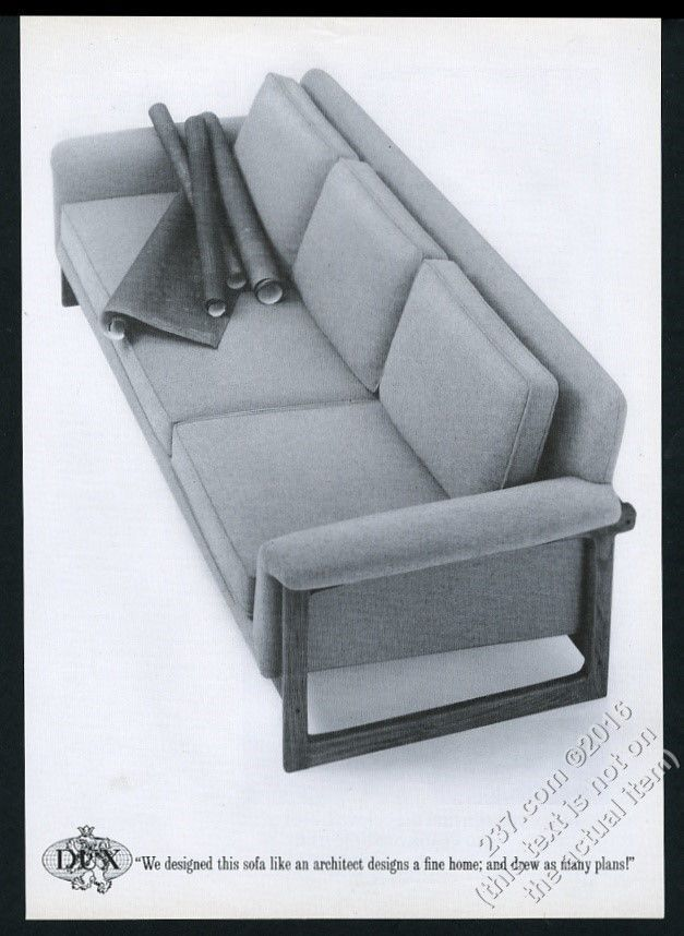 1965 Dux Furniture Modern Danish Sofa Photo Vintage Print Ad
