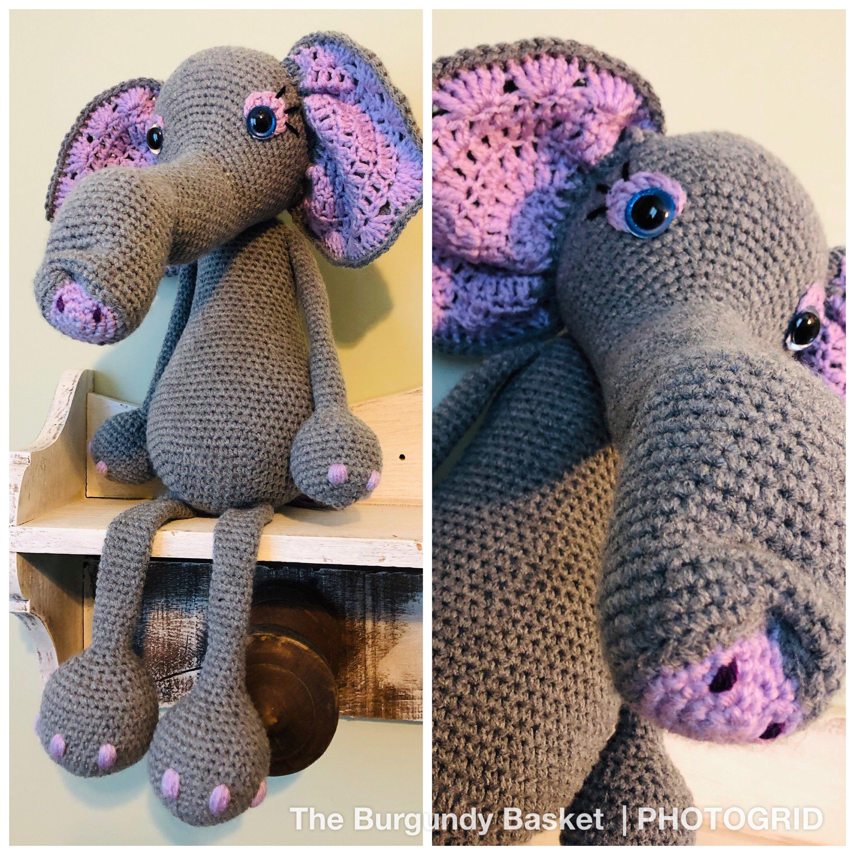 Elemeno the Elephant, *PATTERN Only* PDf Instant Download, Digital Download, Crochet Elephant, Amigurumi, Knit Elephant
