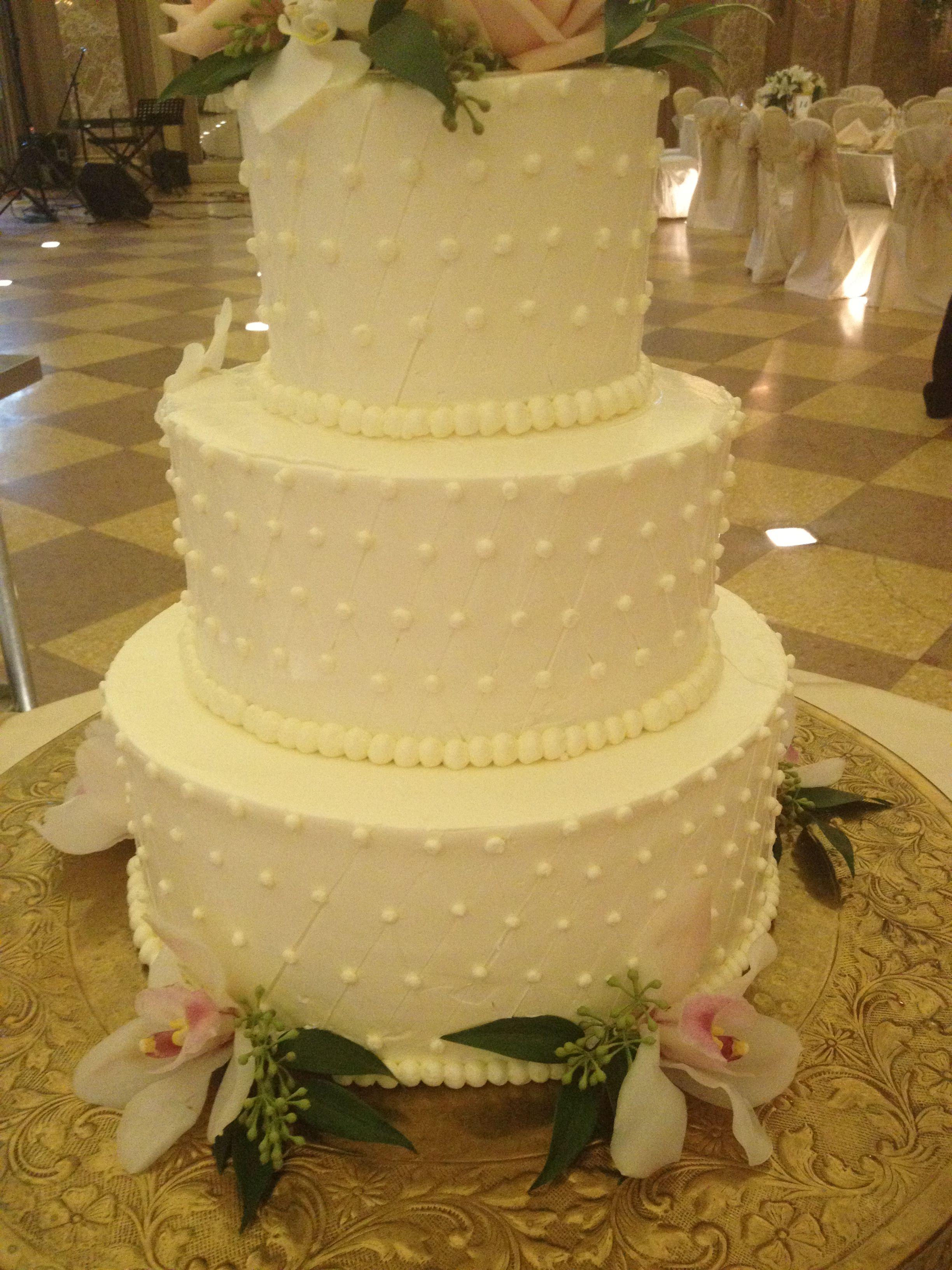 3-Tier wedding cake with diamond pattern http://thecoronado.com ...