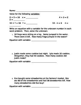 Writing Equations with Variables for Word Problems | EOG Math Review ...