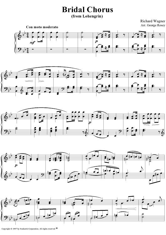 Bridal Chorus Sheet Music by Richard Wagner | Bridal chorus, Sheet ...