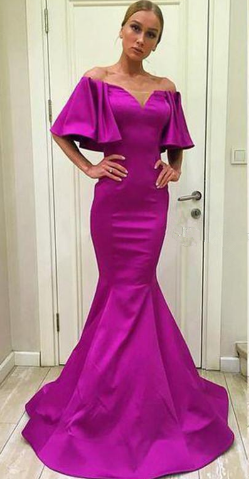 Hot Sale Pink Evening Dresses Mermaid Long Party Gowns Satin Vestido ...