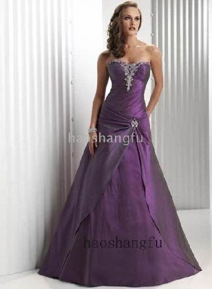 Purple And Silver Wedding Dresses
