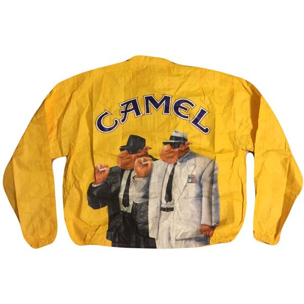 1992 Joe Camel Cigarrettes Windbreaker Front Zip Jacket Vintage Camel... (485 DKK) ❤ liked on Polyvore featuring outerwear, jackets, windbreaker jacket, yellow jacket, wind breaker jacket, vintage jackets and wind jacket