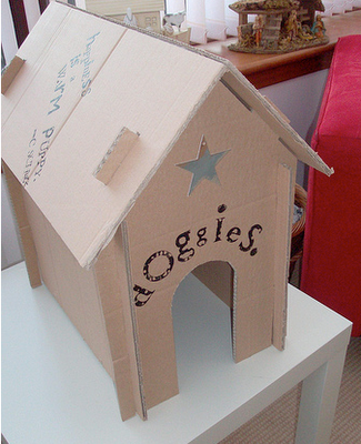 Toy Dog House Tutorial Made From Cardboard Box So Cute For The