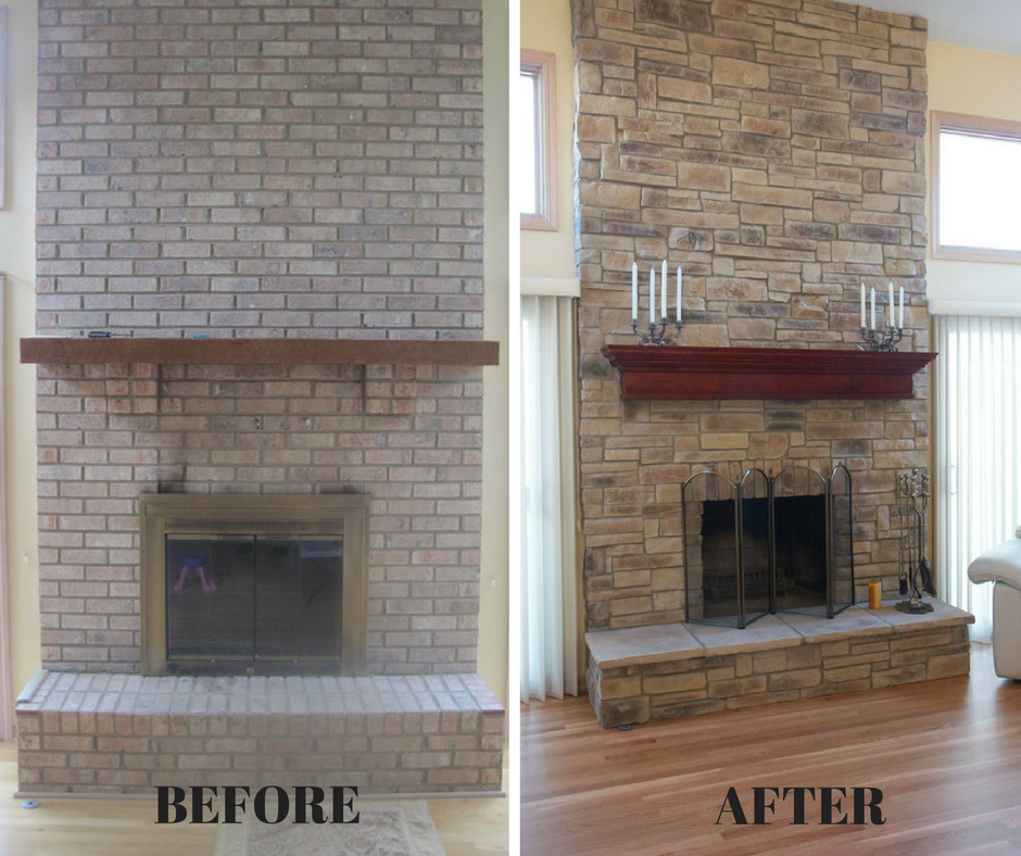 Stone Veneer Fireplace Makeover Our Client Wanted To Update His Brick Fireplace Manufactured Stone Fireplace Stone Veneer Fireplace Brick Fireplace Makeover