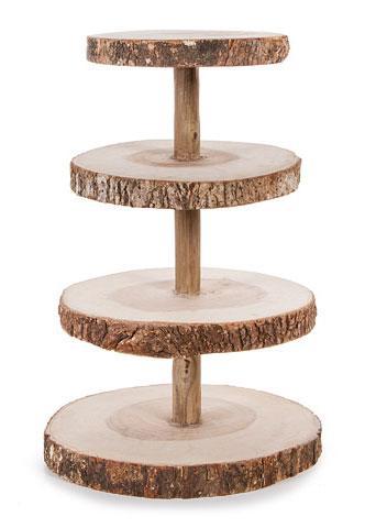 David Tutera 4 Tier Rustic Wood Slice Cupcake Stand 16 25