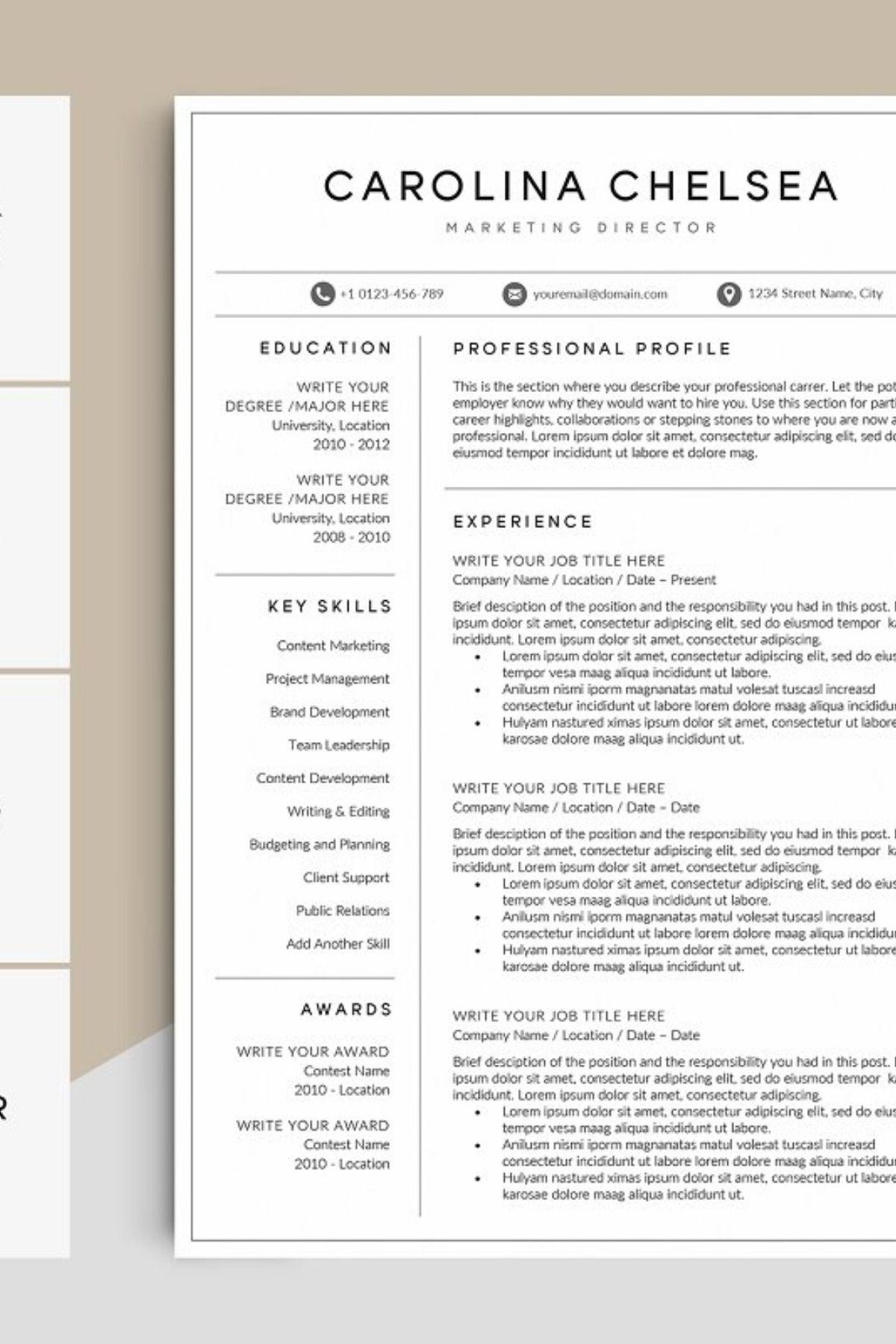 Resume/CV Template CAROLINA Best resume template