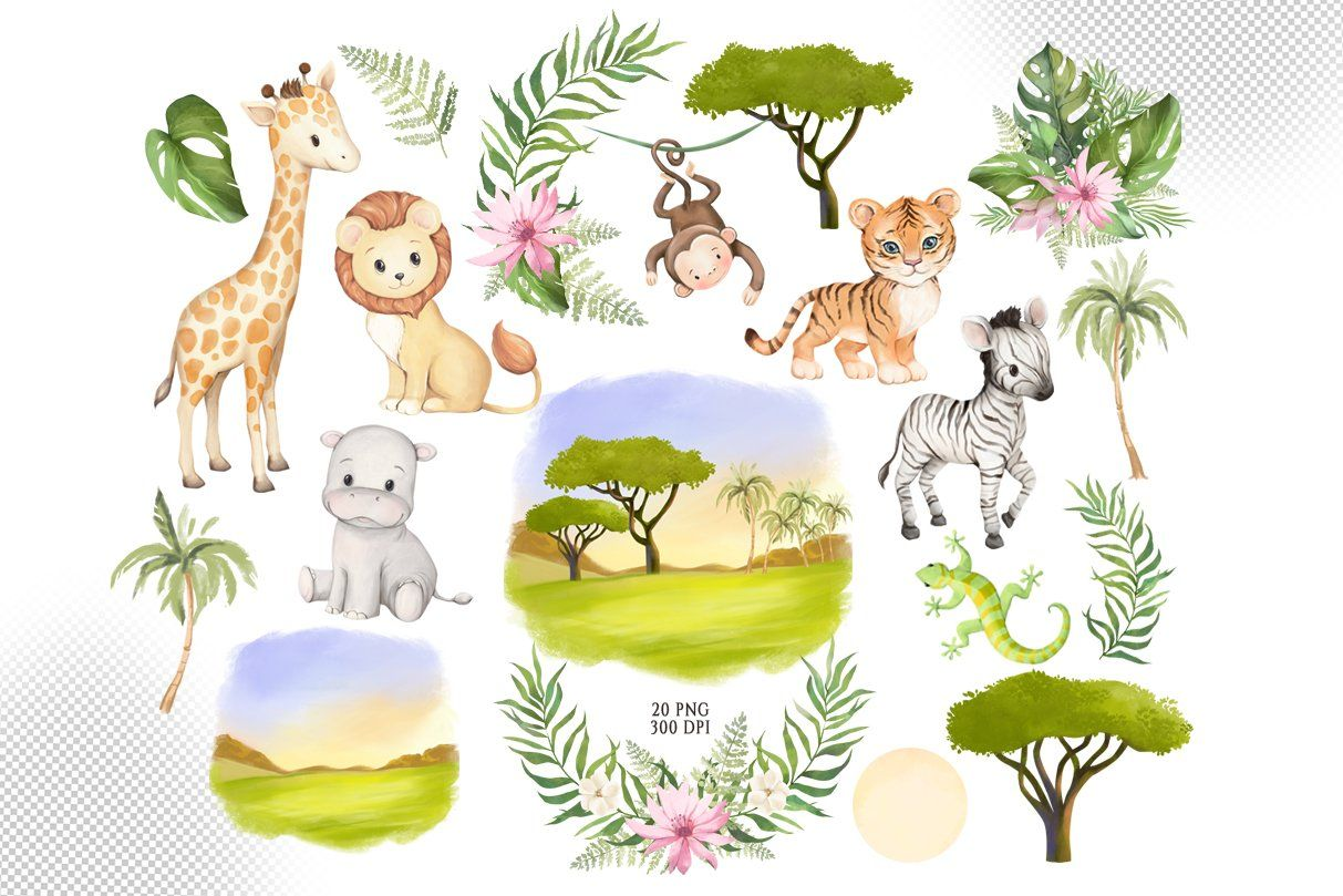 African Animals Watercolor Clipart In 2021 African Animals Animal Clipart Animal Illustration