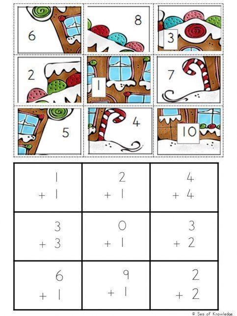 Free Christmas Math Puzzles Christmas Math Christmas Math Activities Maths Puzzles Math puzzle worksheets for kindergarten
