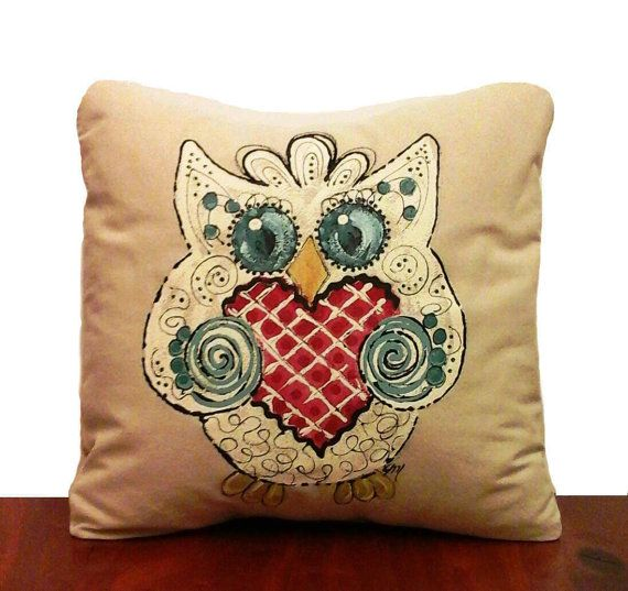 Owl Whimsical Gift Home Decor Decorative Pillows Accent Pillows Delectable Hand Painted Decorative Pillows