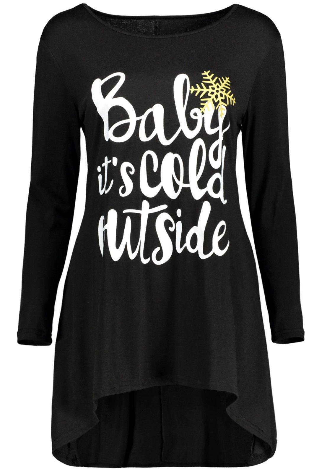 Long sleeve christmas snowflake tunic tshirt dress black xl