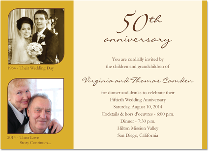 wedding anniversary invitations golden