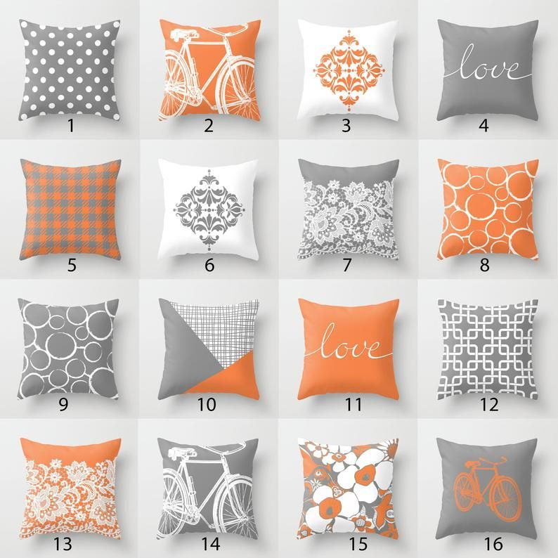 Orange Grey White Throw Pillow Mix And Match Indoor Outdoor Etsy In 2020 White Throw Pillows Yellow Throw Pillows Throw Pillows