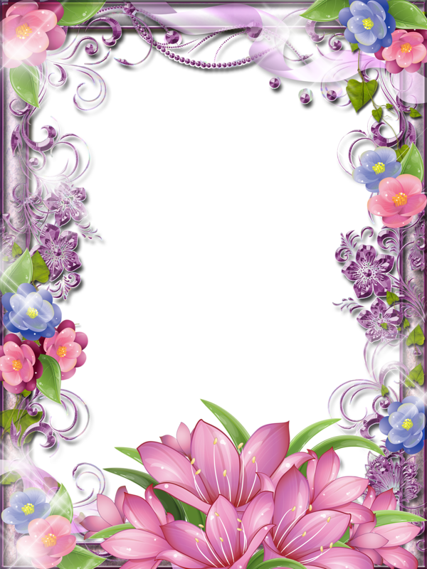 very glittery sparkle pink and purple flower girlie border frame art hojas decoradas. Black Bedroom Furniture Sets. Home Design Ideas