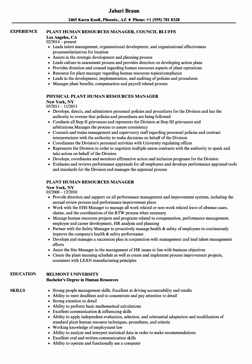 human resource manager resume examples best of plant bachelors degree simple download pdf bsc nursing format
