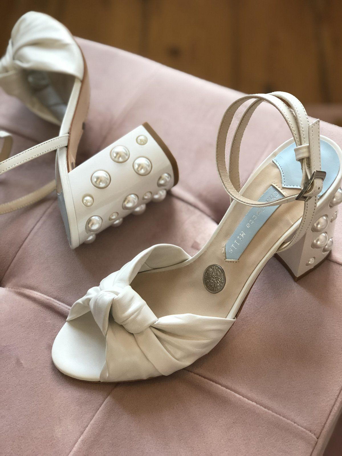 June is a striking block heel with pearls inlayed into the