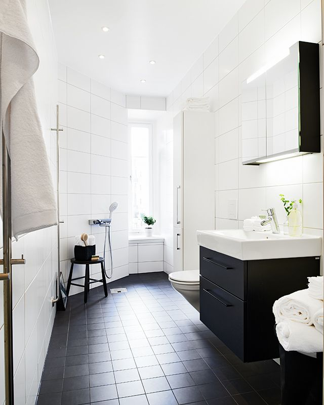 Girls Bathroom Or Guest Bathroom, Black Floor Tiles, Black Cabinet, White Walls