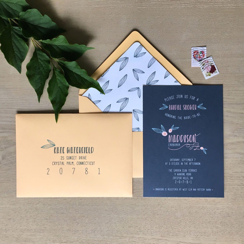 blank beach bridal shower invitations%0A Modern Adorable Bridal Shower Invitations  set of