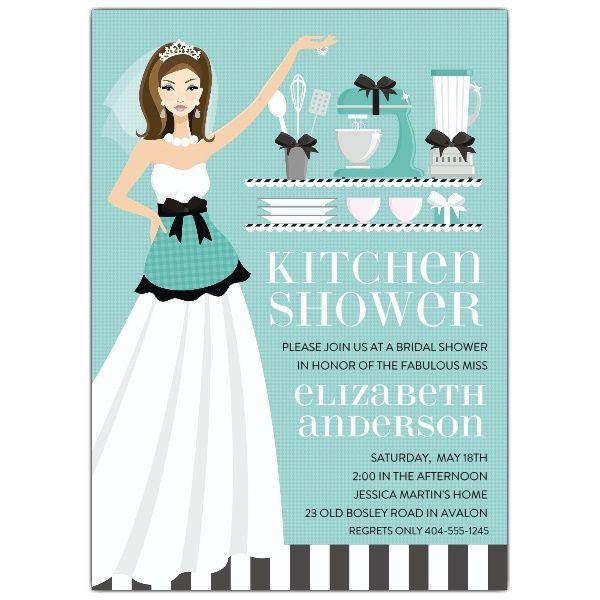f86fd2a85845 Kitchen Bride Blue Brunette Shower Invitations