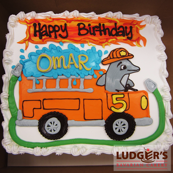 Cute dolphin driving a fire truck for a child's birthday!