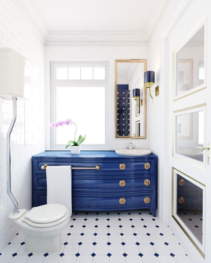Aranżacja Wnętrza Eleganckiej Biało Niebieskiej łazienki