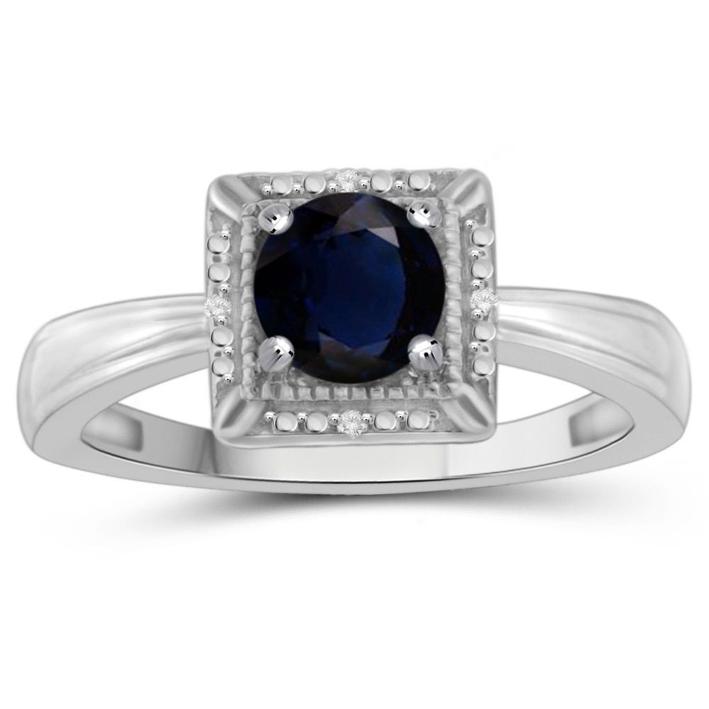 Jewelonfire Sterling Silver 1 1/5ct TW Sapphire Gemstone and Diamond Accent Ring (White, Size-8), Women's, Size: 8