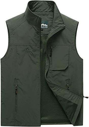 Trailside Supply Co.Mens Fleece-Lined Softshell Vest Outdoor Travel Gilet Stand Collar Water-Repellent