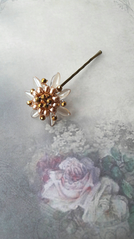 Vintage gold crystal flower wedding hair grip, Crystal wire hair ...