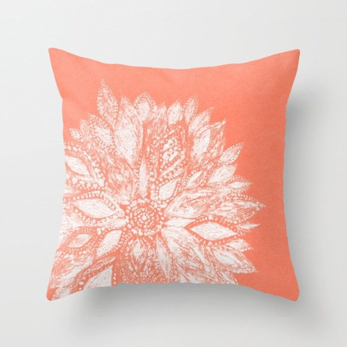 Coral White Flower Throw Pillow Flower Throw Pillow Coral White