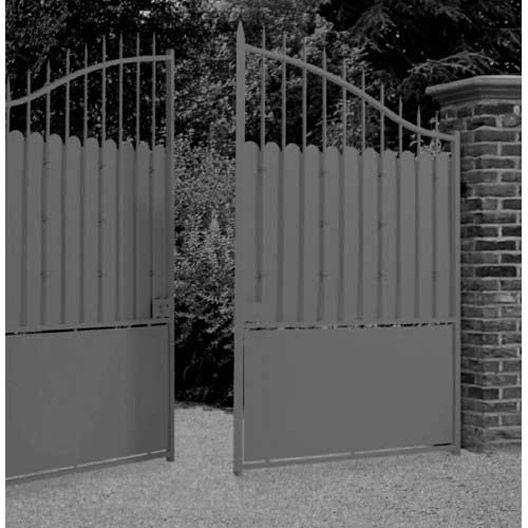 Portail battant acier, Excalibur, à peindre, 350x242cm Mauer - Avantage Inconvenient Maison Ossature Metallique