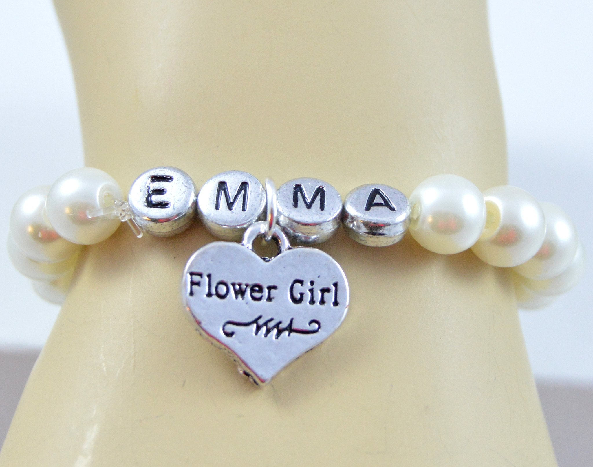 Wedding jewelry flower girl name bracelet pearl bracelet