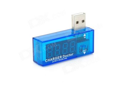 USB Charger Doctor Current Voltage Detector -Translucent Blue + Silver (SKU 305545) - DX Offers - Free Shipping - DealExtreme